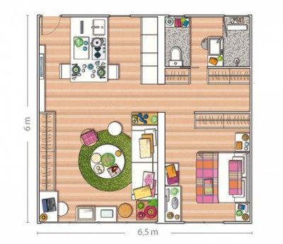Plans Maison En Photos 2018 - Aménagement d\'un appartement de 40m2 ...
