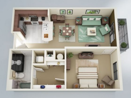 Description plan 3d appartement 1 chambre 06