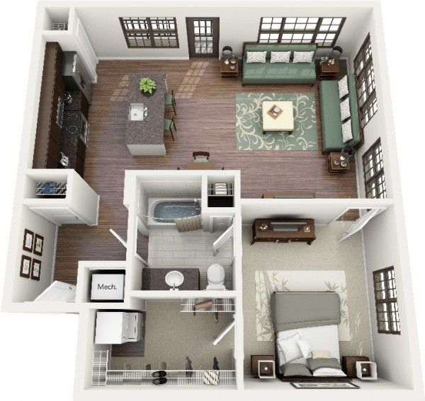 Description plan 3d appartement 1 chambre 22