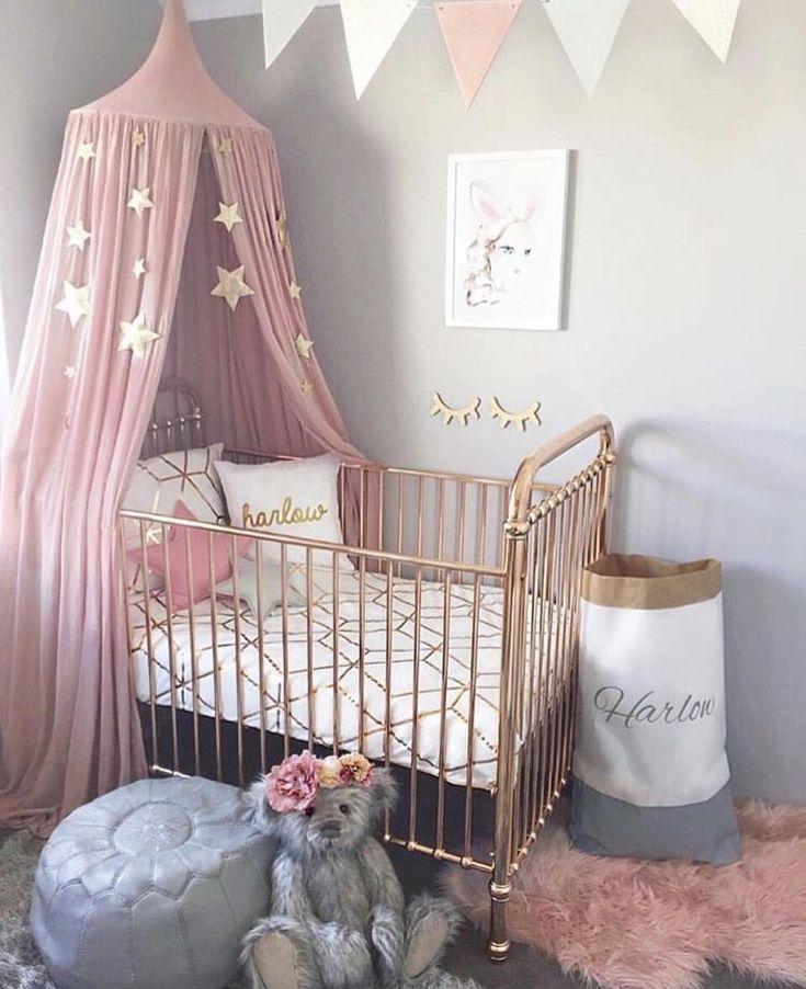 Relooking et d coration 2017 2018 chambre de b b grise rose et dor e - Deco chambre bebe rose ...
