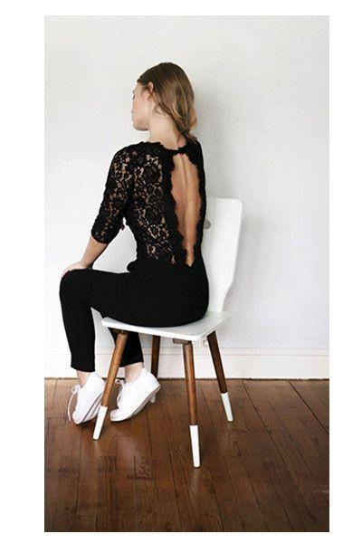 tendance chaussures 2017 jolie combi pantalon fluide et chic dos nu en dentelle buste en. Black Bedroom Furniture Sets. Home Design Ideas