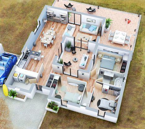 Plans Maison En Photos   Maison Villa Patio  Couleur Villas