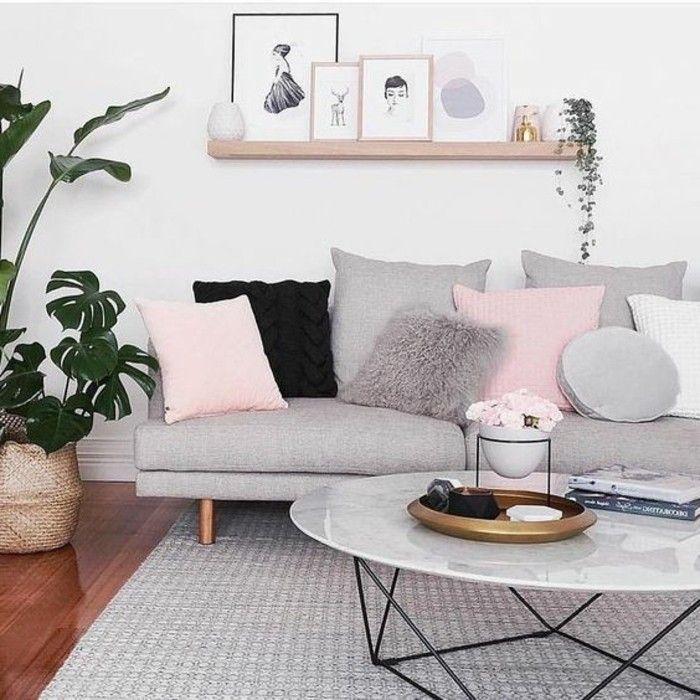 Déco Salon Idee Deco Salon Très Douce Et Féminine Couleur - Canapé 3 places pour idee de deco pour salon