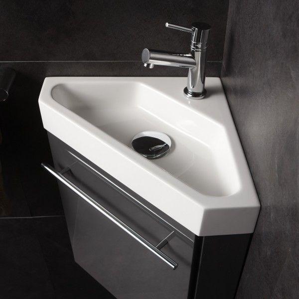id e d coration salle de bain achat meuble avec lave mains angle meubles coloris gris. Black Bedroom Furniture Sets. Home Design Ideas