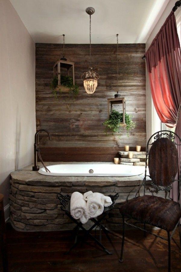 Idée décoration Salle de bain - Salle de bain rustique et romantique ...