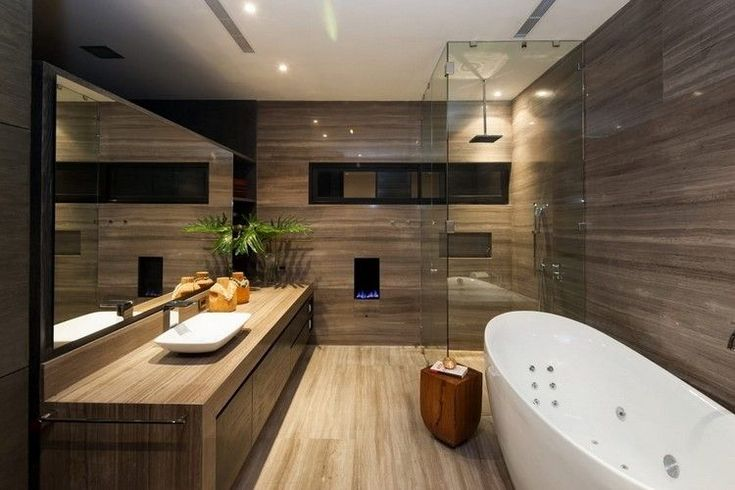 Idée décoration Salle de bain - déco salle de bain bois moderne ...