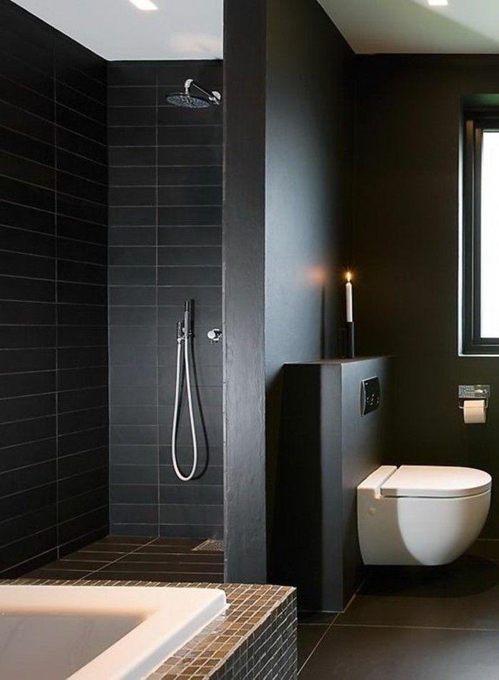 id e d coration salle de bain faience noire salle de bain murs noirs et baignoire blanche. Black Bedroom Furniture Sets. Home Design Ideas