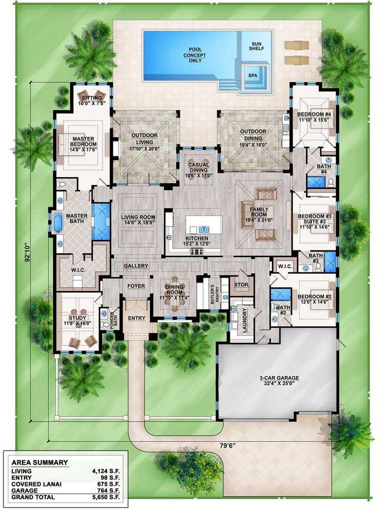 Plans maison en photos 2018 split bedroom florida house for Florida house plans with photos