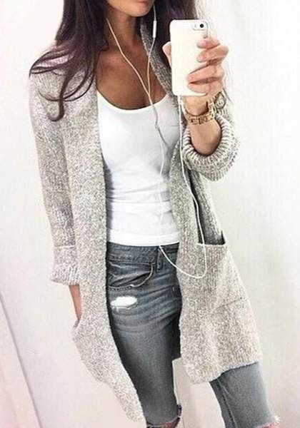 Tendance chaussures 2017 chic gris manches longues col - Idee tenue printemps 2017 ...