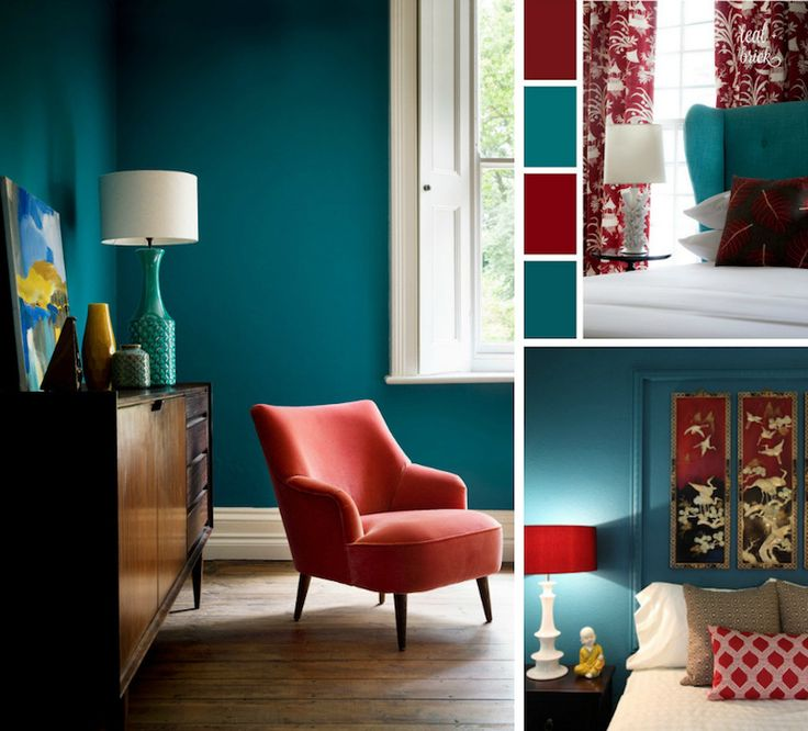 d co salon chambre bleu canard rouge cardinal et blanc. Black Bedroom Furniture Sets. Home Design Ideas