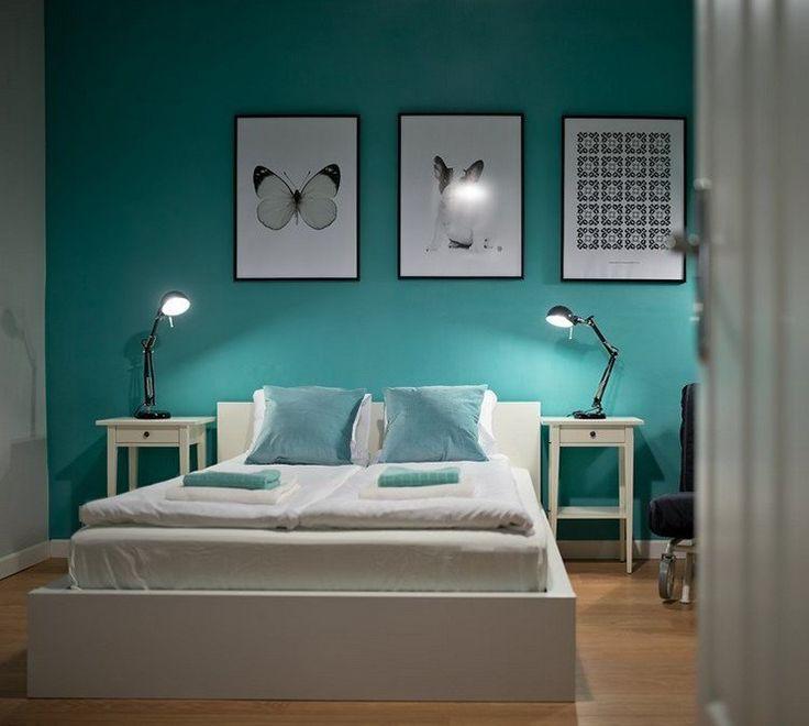 d co salon couleur de peinture pour chambre bleu ciel lit bas en bois blanc neige cadre d. Black Bedroom Furniture Sets. Home Design Ideas