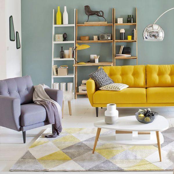 Déco Salon - Touche couleur dans le salon avec ce canapé vintage ...