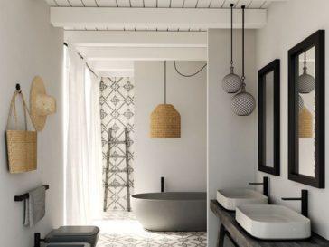 Id e d coration salle de bain bois d coration pierre for Plante de salle de bain