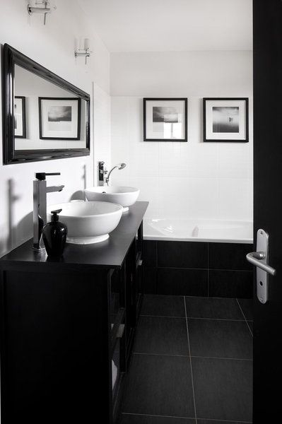 deco salle de bain blanche et noire. Black Bedroom Furniture Sets. Home Design Ideas
