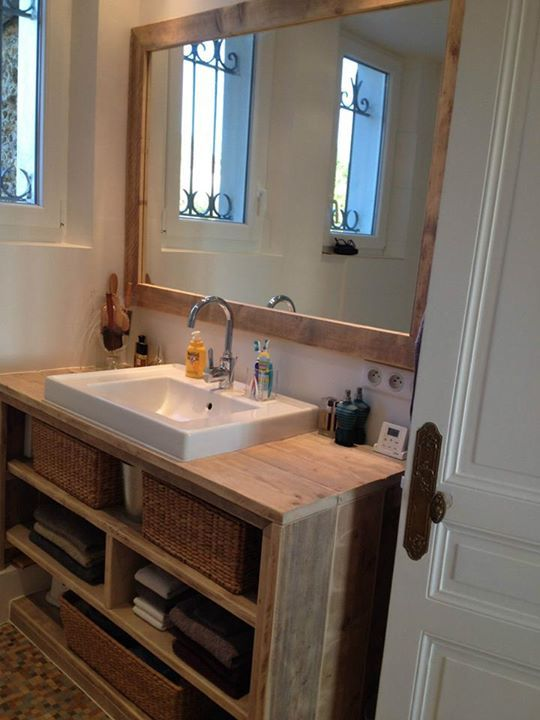 Id e d coration salle de bain meuble salle de bain pays bois avec tablette suppl mentaire - Meuble en bois pour salle de bain ...