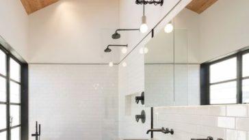 Id e d coration salle de bain un m lange de mati res for Deco petite salle de bain avec douche