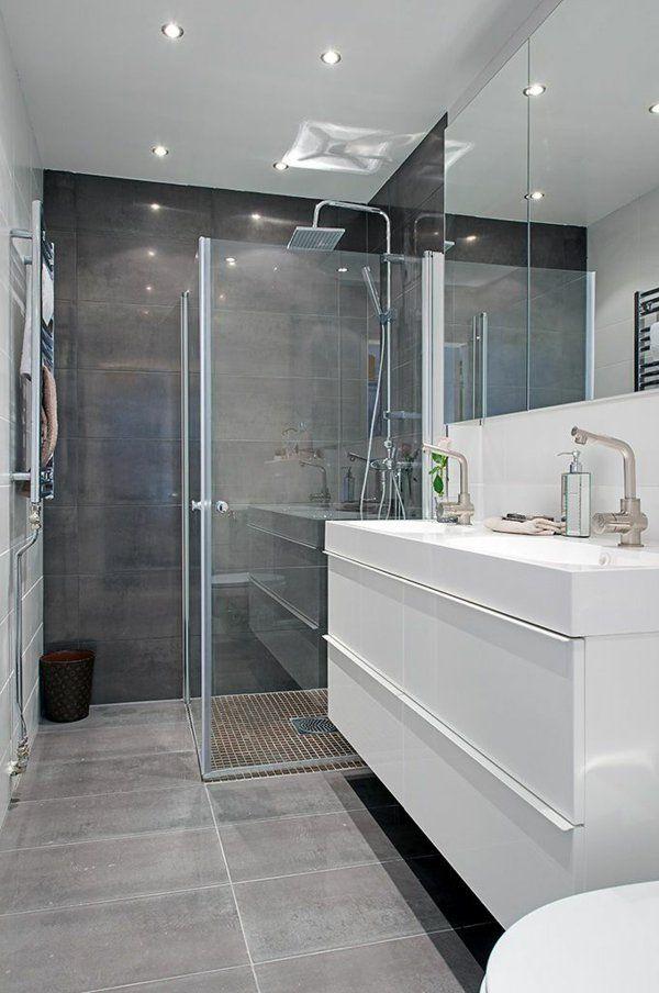 Idée décoration Salle de bain - salle de bains grise, une salle de ...