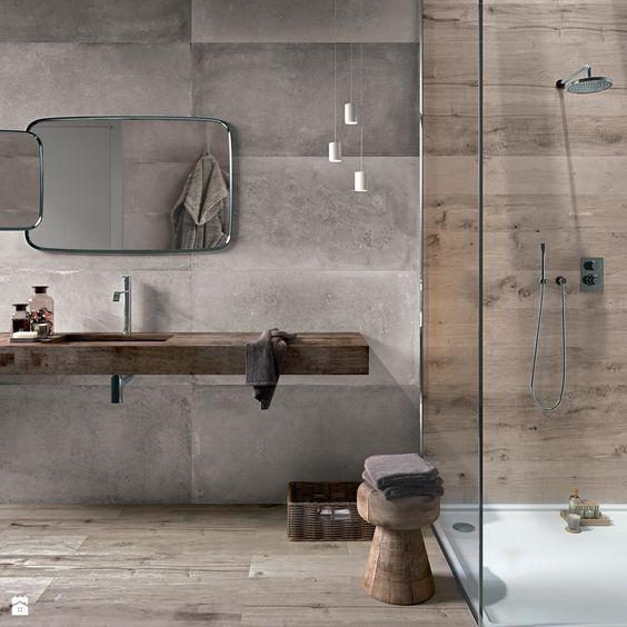 Id e d coration salle de bain un m lange de mati res for Idee salle de bain nature