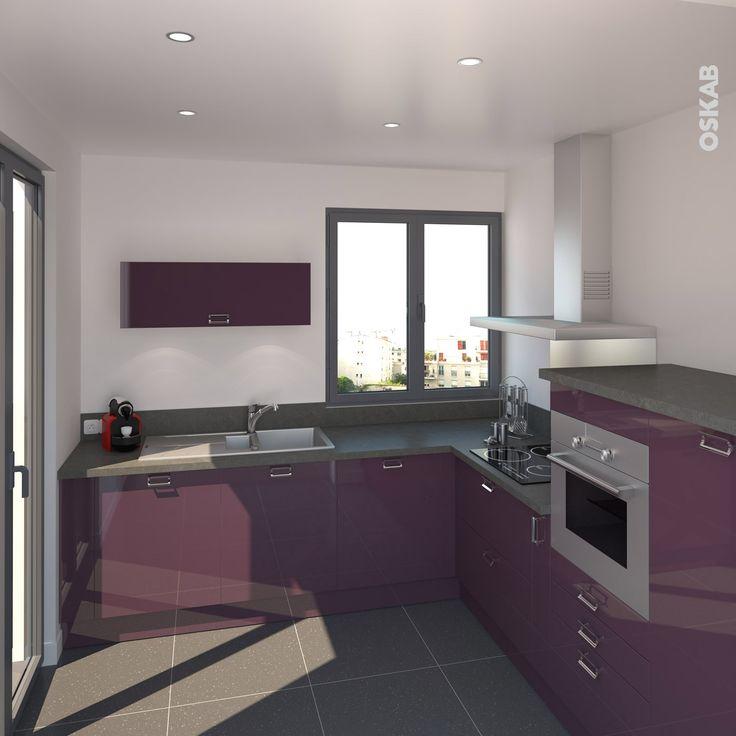 Id e relooking cuisine cuisine en l couleur aubergine for Idee de cuisine en l