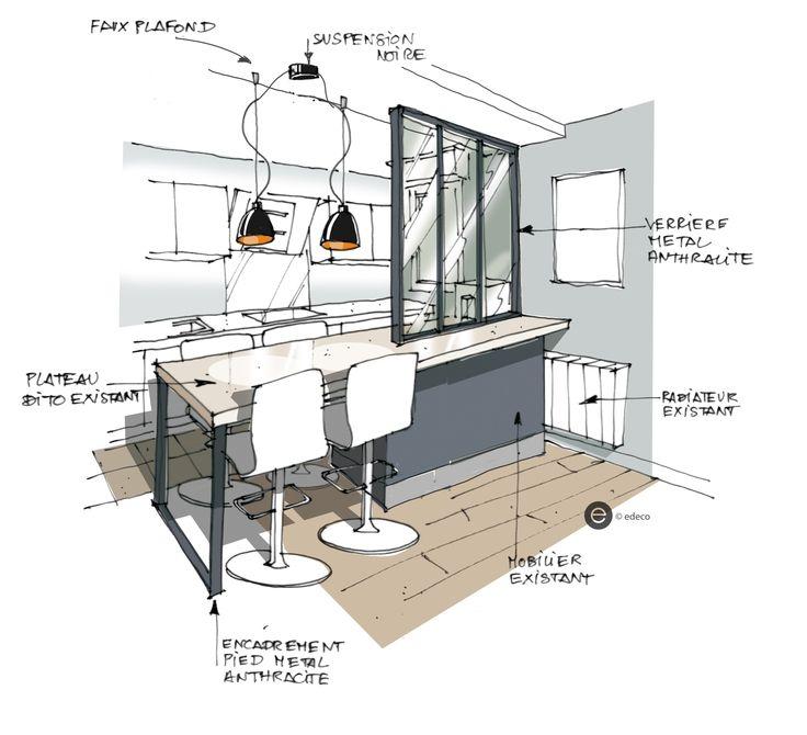 Plans Maison En Photos 2018 - Croquis cuisine ouverte avec verrière ...