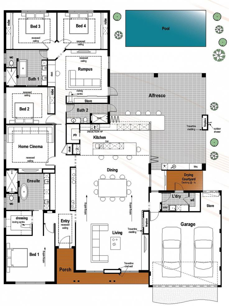 Plans maison en photos 2018 floor plan friday 4 bedroom for Villa maison plans photos