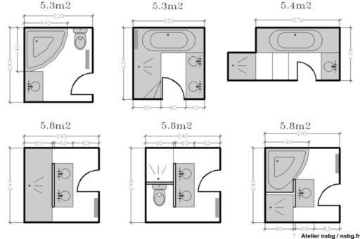 plans maison en photos 2018 les salles de bains de taille moyenne 4 5 6 m studio d 39 archi. Black Bedroom Furniture Sets. Home Design Ideas
