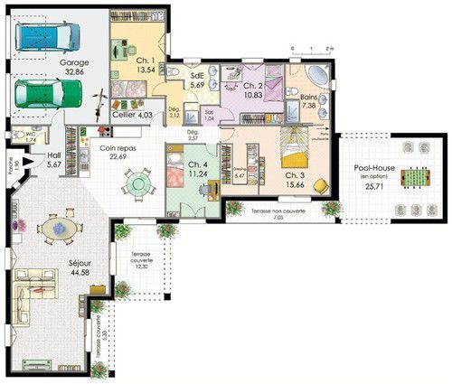 Plans maison en photos 2018 plan habill rez de chauss e for Plan maison mca