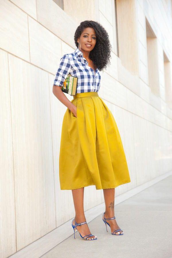 tendance chaussures 2017 chemise aux carreaux blanc bleu jupe trap ze jaune mi longue. Black Bedroom Furniture Sets. Home Design Ideas