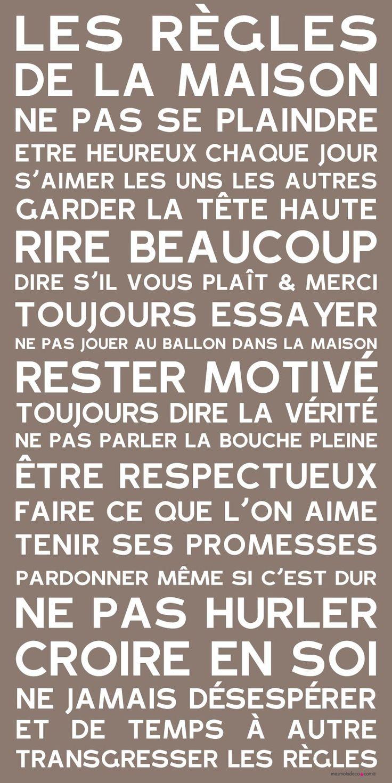Citation les r gles de la maison leading inspiration culture - Cadre les regles de la maison ...