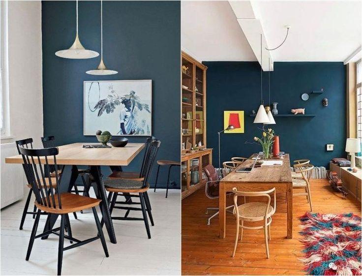 Déco Salon Couleur De Peinture Murale Foncé Bleu Pétrole
