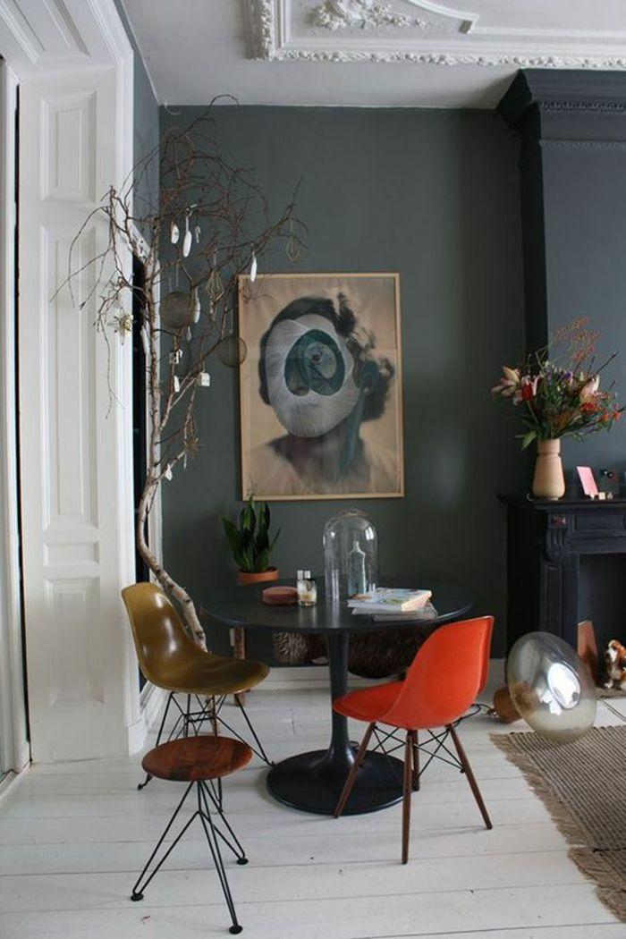 D 233 Co Salon Mur En Gris Anthracite Grand Panneau D Art