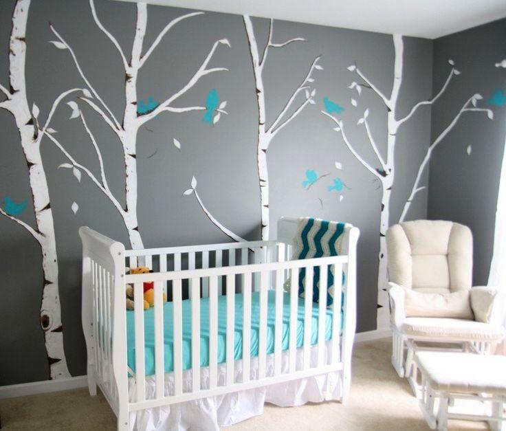 chambre-bébé-peinte gris déco murale bouleaux oiseaux bleu-turquoise ...