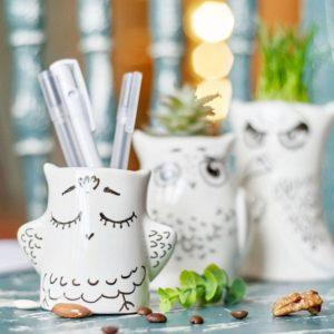 id e cadeau cr maill re pots fleurs rigolos en forme d 39 hibou leading. Black Bedroom Furniture Sets. Home Design Ideas