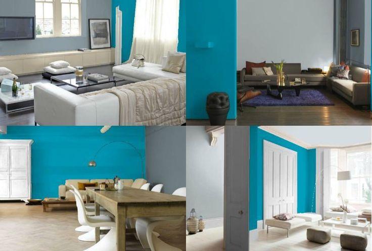 Idées Peinture Murale Bicolore Salon Bleu Turquoise Gris