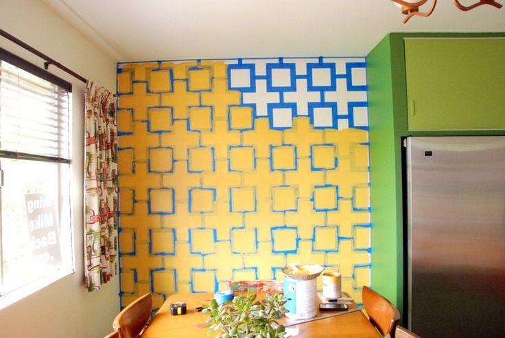 peindre sur du papier peint papier peint motifs bleus. Black Bedroom Furniture Sets. Home Design Ideas