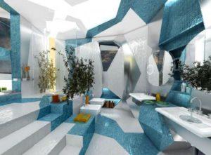 salle-bains design extraordinaire mosaique bleu-turquoise blanche ...