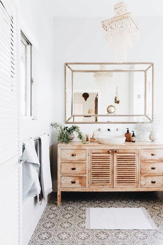id e d coration salle de bain grand meuble en bois brut pour salle de bains. Black Bedroom Furniture Sets. Home Design Ideas