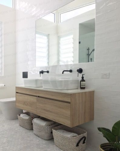 Coration Salle Bain Ibiza White Oak Timber Wood Grain Wall Hung Double Vanity