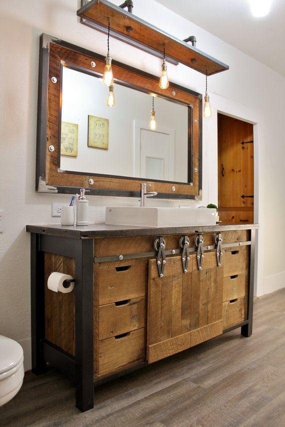 Idée décoration Salle de bain - Rustique meuble industriel Grange ...