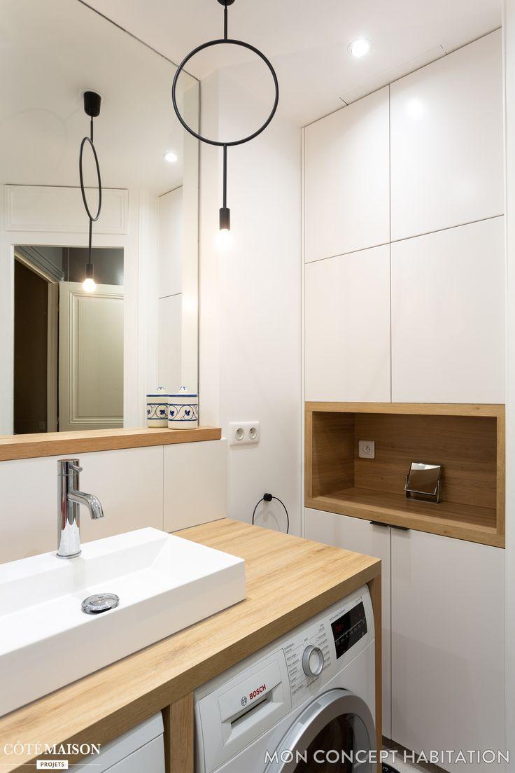 Idée décoration Salle de bain - Une niche en bois a trouvé refuge ...