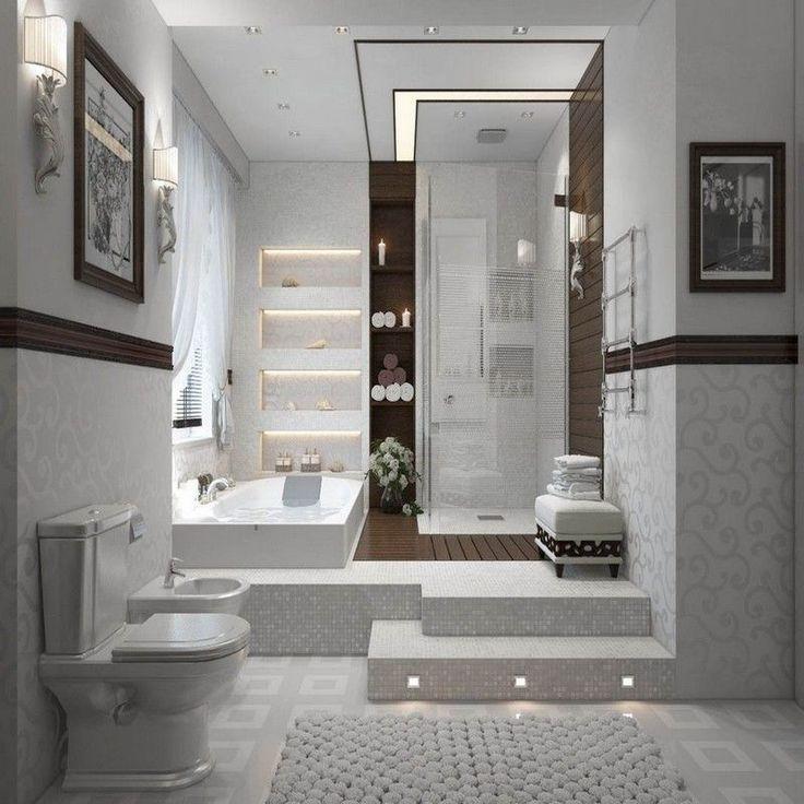 Idée décoration Salle de bain - salle de bain moderne en blanc et ...