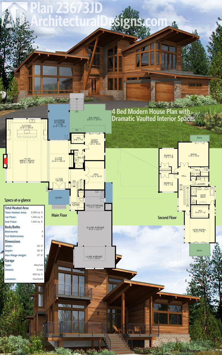Architectural Designs 4 Bed Modern House Plan 23673JD Has Dramatic