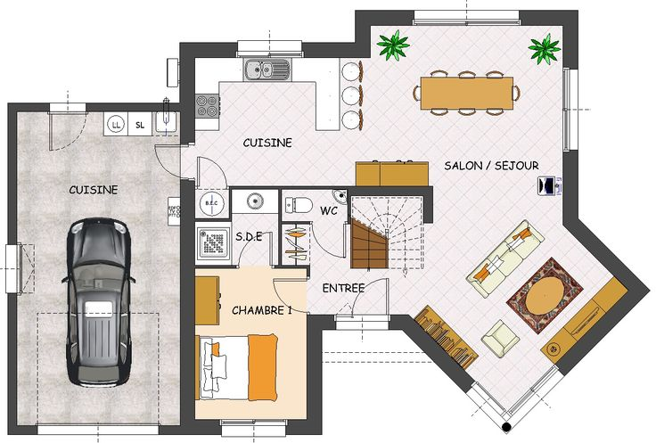plans maison en photos 2018 plan de maison contemporaine 4 chambres avec garage listspirit. Black Bedroom Furniture Sets. Home Design Ideas