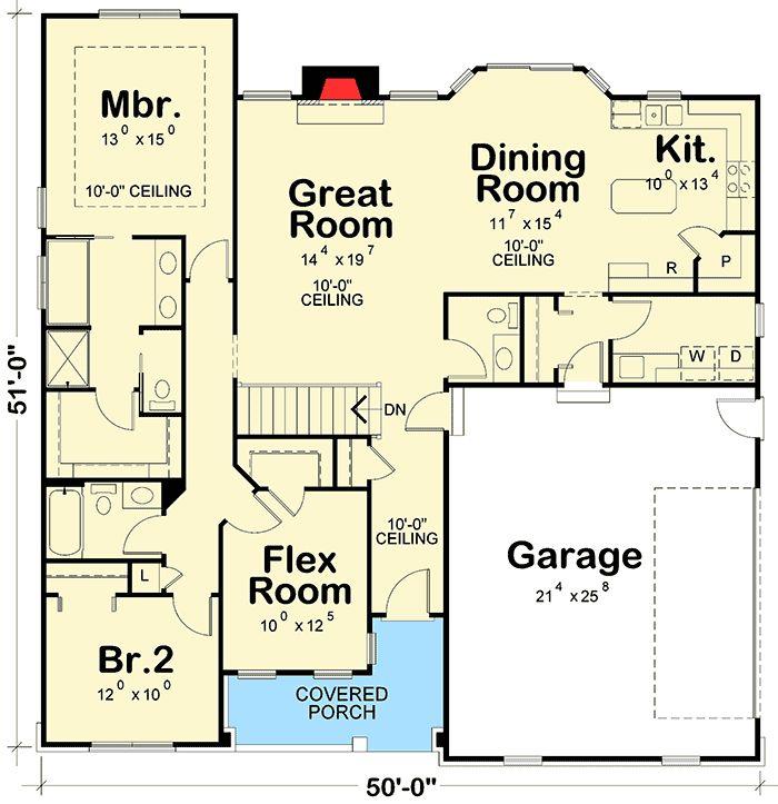 Plans Maison En Photos   Ranch House Plan With Flex Room