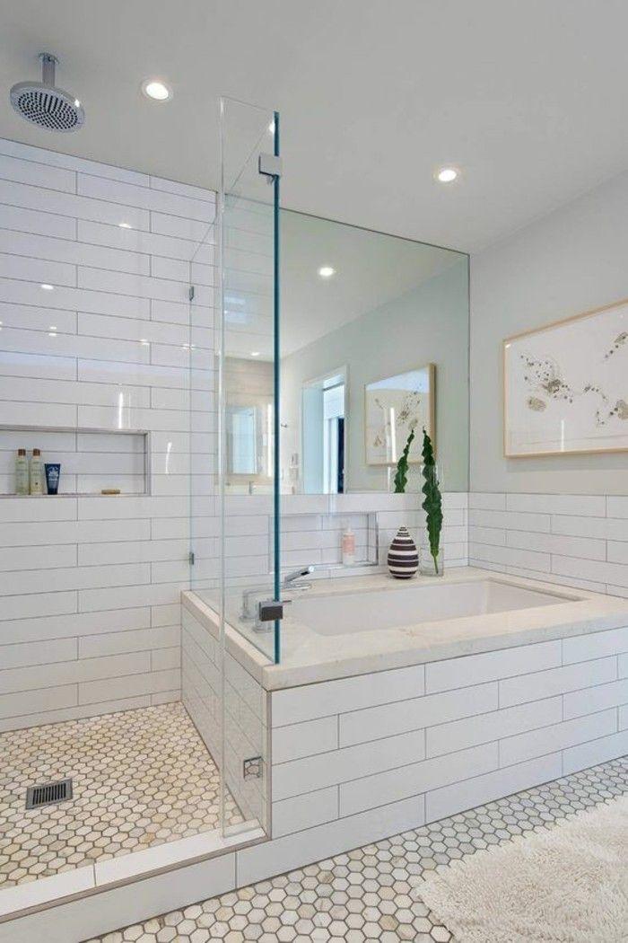 description carrelage sol hexagonal salle de bain avec baignoire et douche