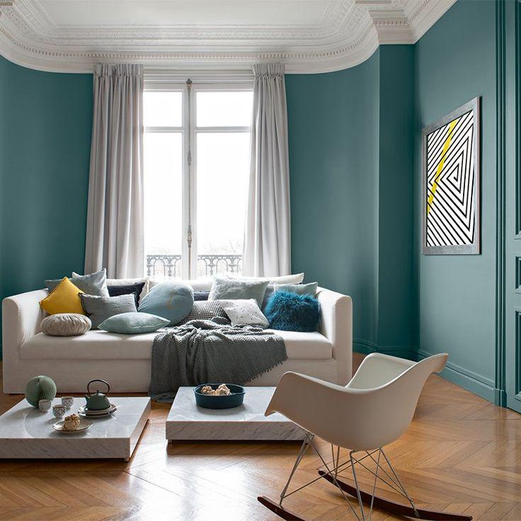D co salon salon couleur mur vert canard eames chaise plastique bascule blanche canape cous - Couleur mur pour salon ...