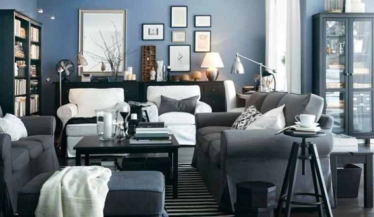 Idée Décoration Maison En Photos 2018 - peinture bleu pigeon salon ...