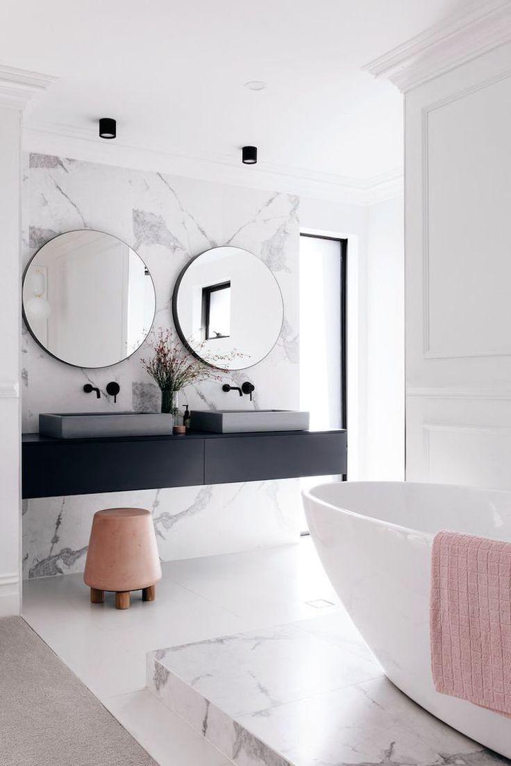 Id e d coration salle de bain chambre adulte blanche 80 id es cool pour votre am nagement - Salle de bain pinterest ...