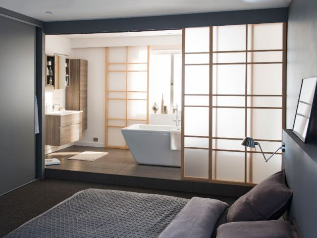 id e d coration salle de bain chambre parentale portes coulissantes style japonais. Black Bedroom Furniture Sets. Home Design Ideas