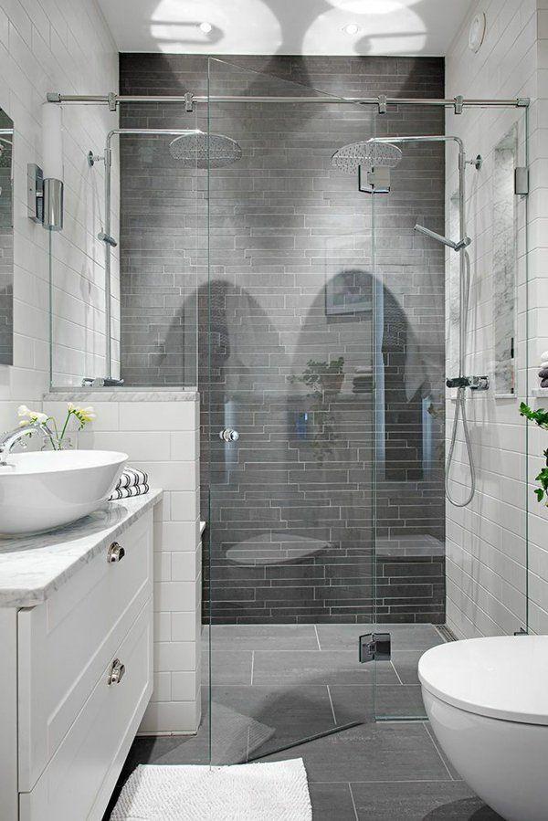 Salle de bain grise et blanche